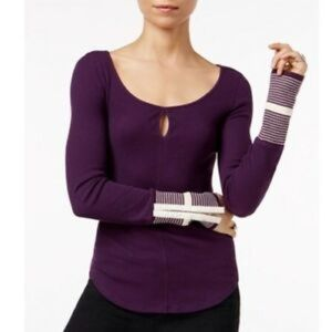 Free People | Mod Stripe Cuff Thermal Purple M NWT